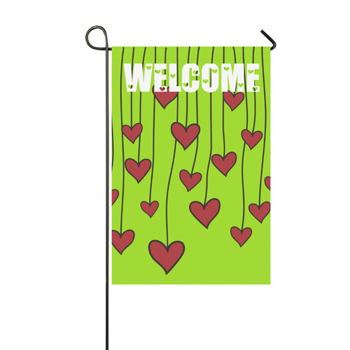Waving Love Heart Garland Curtain Garden Flag 12''x18''(Without Flagpole)