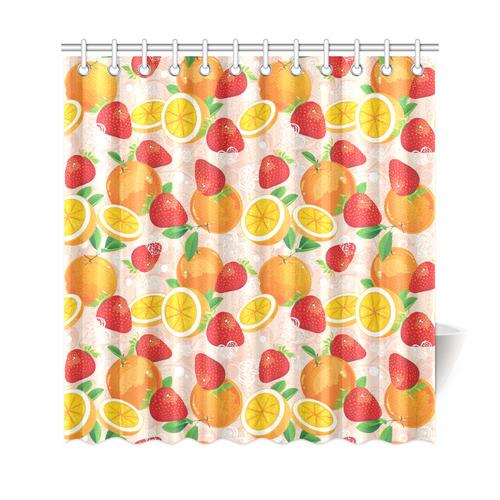 "Strawberry Orange Hearts Fruit Pattern Shower Curtain 69""x72"""
