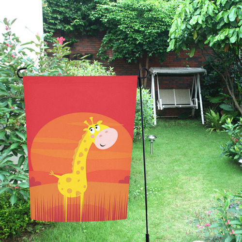 Flag with Giraffe : yellow, red Garden Flag 12''x18''(Without Flagpole)