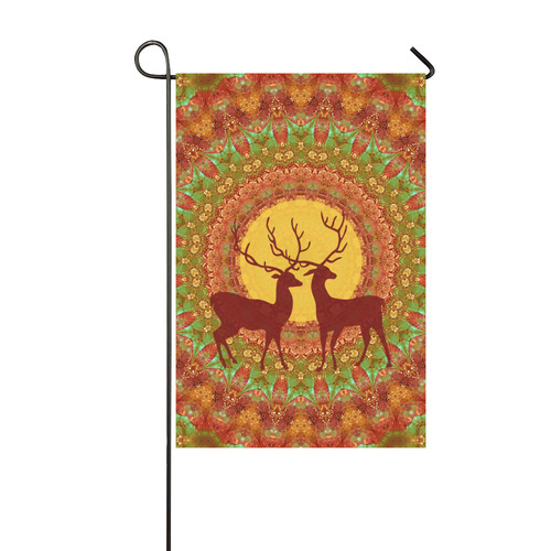 Mandala YOUNG DEERS with Full Moon Garden Flag 12''x18''(Without Flagpole)