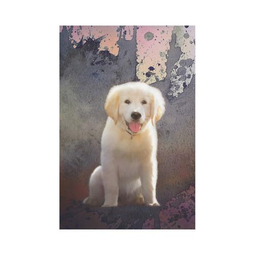 A cute painting golden retriever puppy Garden Flag 12''x18''(Without Flagpole)