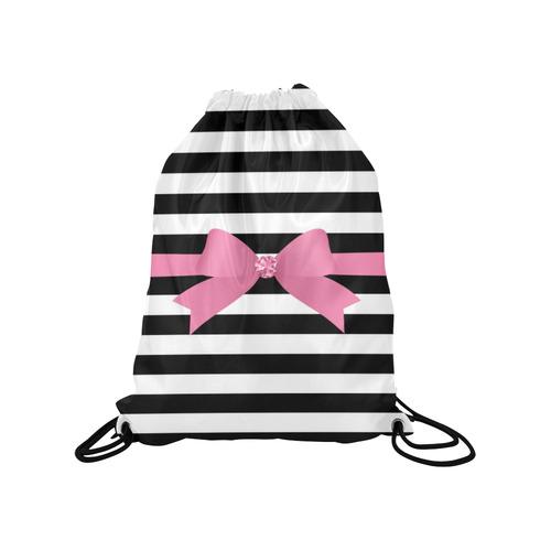 24c2137add0 ... Black White Stripes with Pink Bow Medium Drawstring Bag Model 1604  (Twin Sides) 13.8 ...