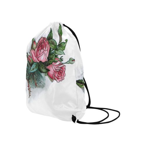 """Roses Vintage Floral Large Drawstring Bag Model 1604 (Twin Sides)  16.5""""(W) * 19.3""""(H)"""
