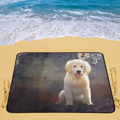 A cute painting golden retriever puppy Portable & Foldable Mat 60''x78''
