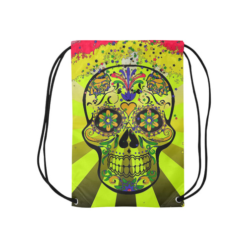 "psychedelic Pop Skull 317G by JamColors Small Drawstring Bag Model 1604 (Twin Sides) 11""(W) * 17.7""(H)"