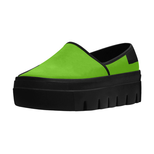 Lime Green and Black Selene Deep Mouth Women Shoes (Model 311)