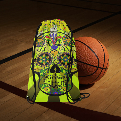"""psychedelic Pop Skull 317G by JamColors Small Drawstring Bag Model 1604 (Twin Sides) 11""""(W) * 17.7""""(H)"""