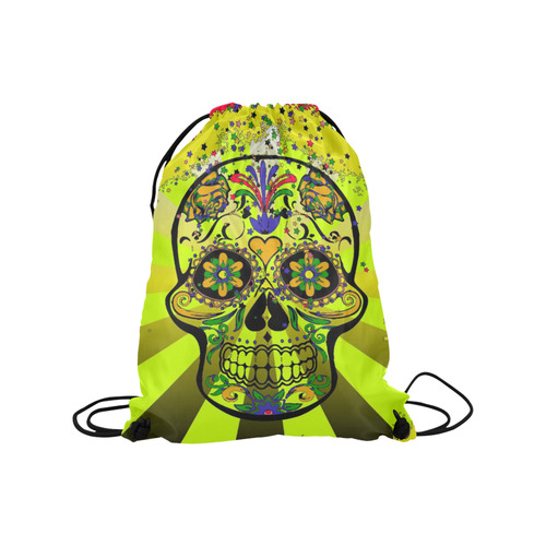 "psychedelic Pop Skull 317G by JamColors Medium Drawstring Bag Model 1604 (Twin Sides) 13.8""(W) * 18.1""(H)"
