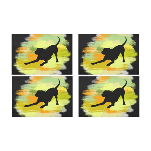 Dog Playing Please Painting Shape Placemat 12'' x 18'' (Four Pieces)