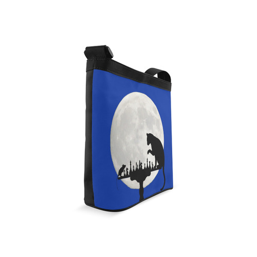 Cat Mouse Chess Blue Crossbody Bags (Model 1613)