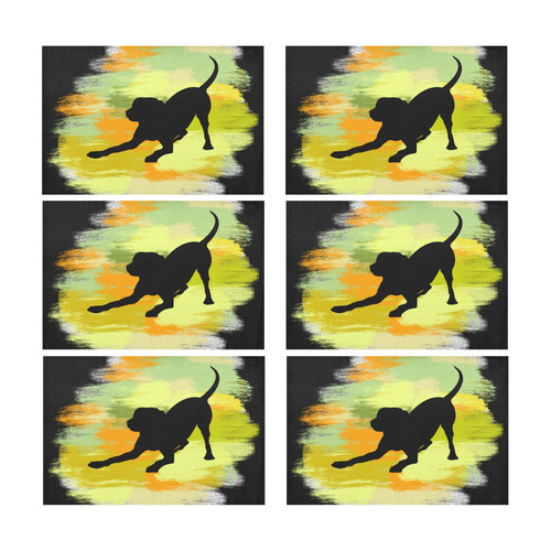 Dog Playing Please Painting Shape Placemat 12'' x 18'' (Six Pieces)