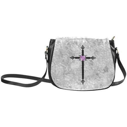 Jeweled Cross Pastel Goth Art Classic Saddle Bag/Large (Model 1648)