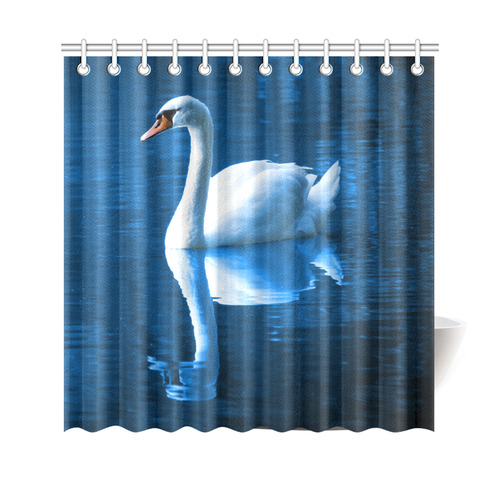 Blue Swan Shower Curtain 69x70