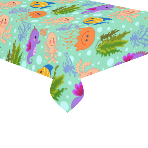... Octopus Sea Horse Jellyfish Seaweed Coral Cotton Linen Tablecloth ...