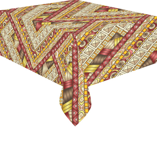 "Red Gold Boho Ethnic Tribal Pattern Cotton Linen Tablecloth 52""x 70"""