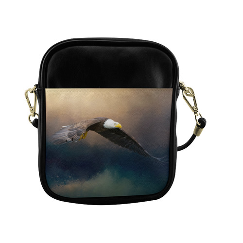 Painting flying american bald eagle Sling Bag (Model 1627)
