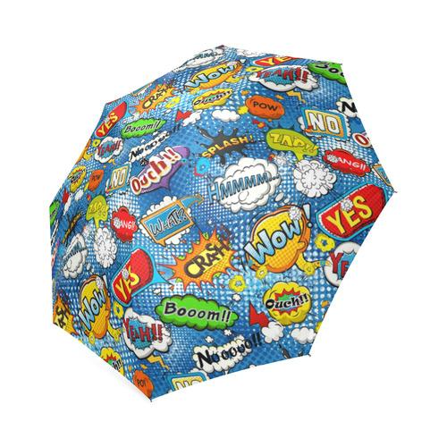 Comic Speech Bubbles Wow Pow Yes Splash Foldable Umbrella (Model U01)