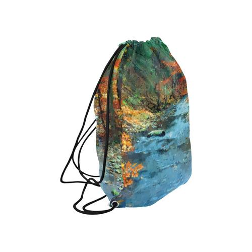 """Pixel Creek at Autumn Large Drawstring Bag Model 1604 (Twin Sides)  16.5""""(W) * 19.3""""(H)"""