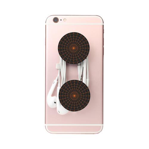 Orange Halloween Spiderwebs Air Smart Phone Holder