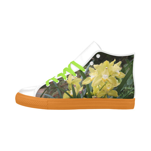 Yellow Orchids Aquila High Top Action Leather Women's Shoes (Model 032)