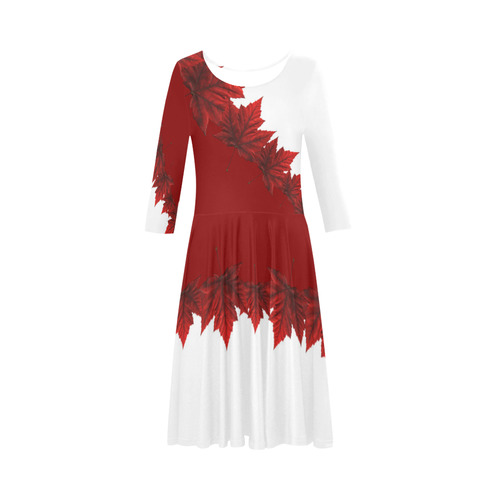 Canada Maple Leaf Skate Dresses Elbow Sleeve Ice Skater Dress (D20)