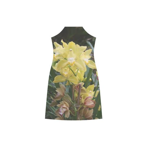 Yellow Orchids V-Neck Open Fork Long Dress(Model D18)