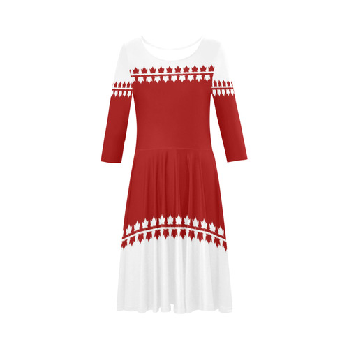Canada Ice Skating Dresses Retro Classic Elbow Sleeve Ice Skater Dress (D20)
