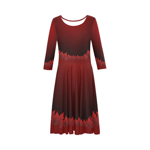 Canada Ice Skater Dresses Red Maple Leaf Dress Elbow Sleeve Ice Skater Dress (D20)