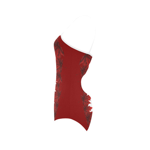 Canada Swimsuit Red Maple Leaf Bathing Suits Strap Swimsuit ( Model S05)