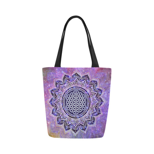 Flower Of Life Lotus Of India Galaxy Colored Canvas Tote Bag (Model 1657)