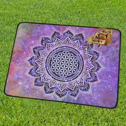 Flower Of Life Lotus Of India Galaxy Colored Portable & Foldable Mat 60''x78''