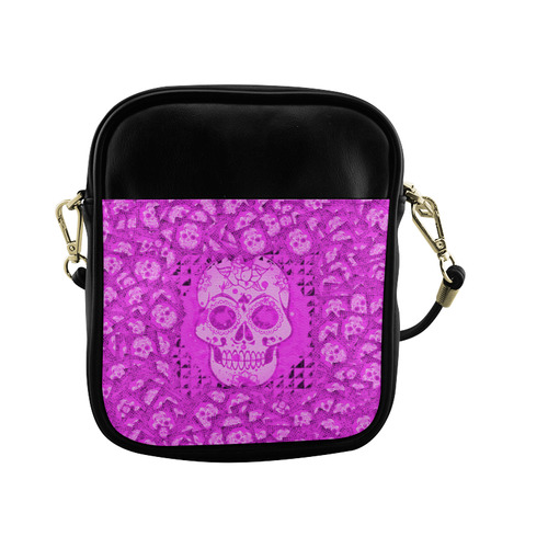 skull 317 pink by JamColors Sling Bag (Model 1627)