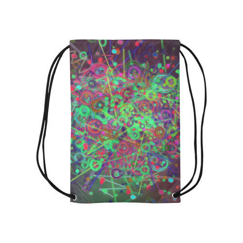 """Exploding Disco Lights and Colours Small Drawstring Bag Model 1604 (Twin Sides) 11""""(W) * 17.7""""(H)"""
