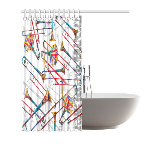 "Trombone Colorful Print Shower Curtain Shower Curtain 72""x72"""