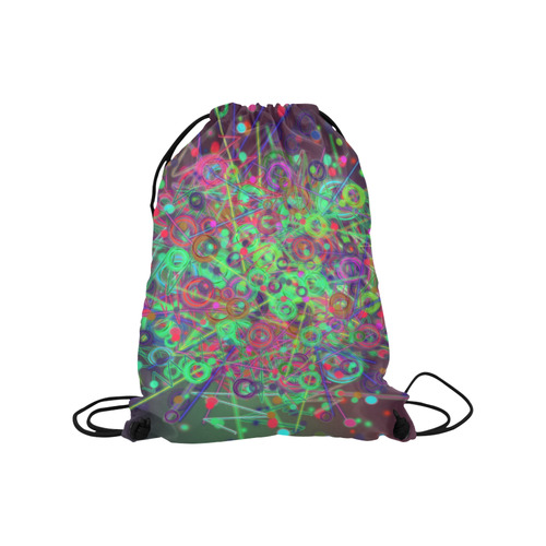 """Exploding Disco Lights and Colours Medium Drawstring Bag Model 1604 (Twin Sides) 13.8""""(W) * 18.1""""(H)"""