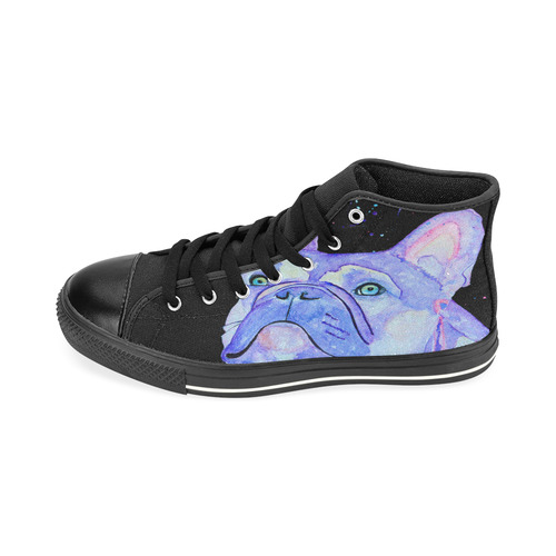 Lilac frenchie kids hi tops High Top Canvas Shoes for Kid (Model 017)