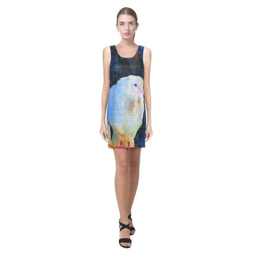 White Bird on Branch Helen Sleeveless Dress (Model D10)