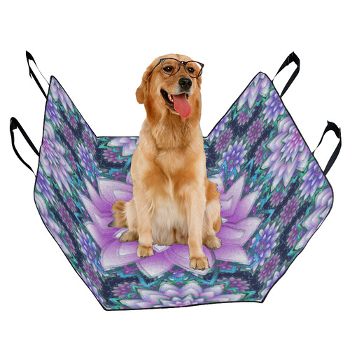 Lotus Flower Ornament - Purple and turquoise Pet Car Seat 55''x58''