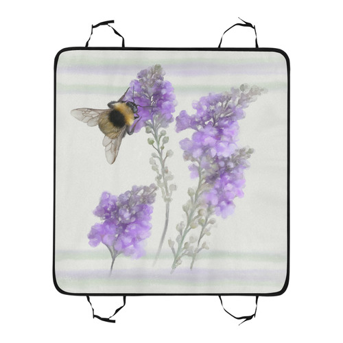 Bumblebee on purple flowers, floral watercolor Pet Car Seat 55''x58''