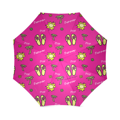 Summer Sun Flip Flops Pink Pattern Foldable Umbrella