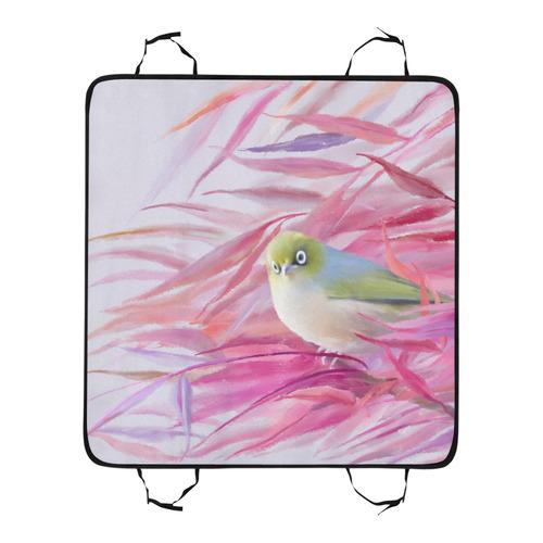 Cute SilverEye, angry bird watercolor Pet Car Seat 55''x58''