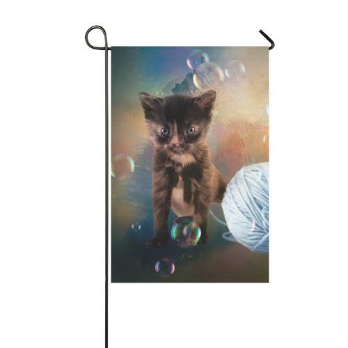 Playful cute black kitten Garden Flag 12''x18''(Without Flagpole)