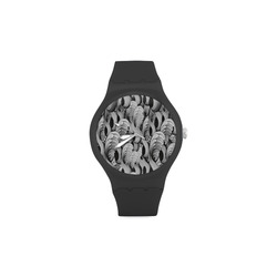 waves black white 3000x3000 Unisex Round Rubber Sport Watch(Model 314) 4d9bf9a2b0fd9