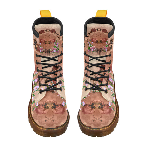 Awesome skulls with flowres High Grade PU Leather Martin Boots For Women Model 402H