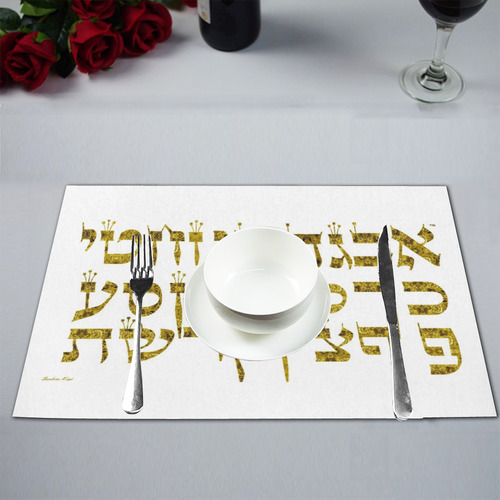 Hebrew alphabet 8 Placemat 12'' x 18'' (Six Pieces)