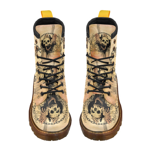 Amazing skull with wings Leather Martin Boots For Men Model 402H