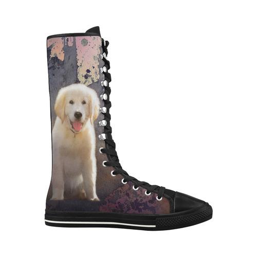 554a97b6c1028 A cute painting golden retriever puppy Canvas Long Boots For Women Model  7013H | ID: D1368049