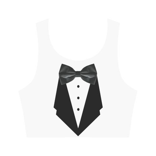 Fake Dinner Jacket - Tuxedo Women's Crop Top (Model T42)