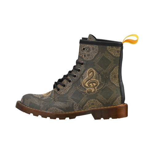 Decorative clef, music High Grade PU Leather Martin Boots For Women Model 402H