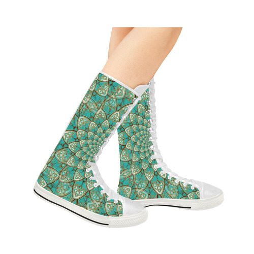 LOTUS FLOWER PATTERN gold turquoise white Canvas Long Boots For Women Model 7013H